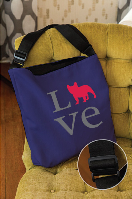 Righteous Hound - Love French Bulldog Adjustable Tote Bag