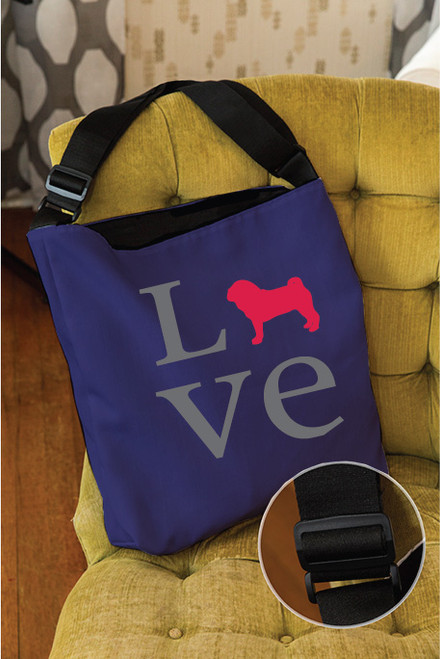 Righteous Hound - Love Pug Adjustable Tote Bag