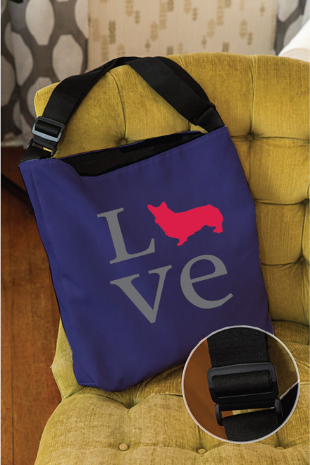 Righteous Hound - Love Corgi Adjustable Tote Bag