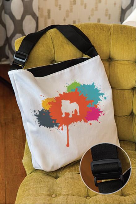 Splatter Bulldog Adjustable Tote Bag
