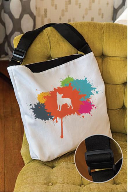 Splatter Chihuahua Adjustable Tote Bag