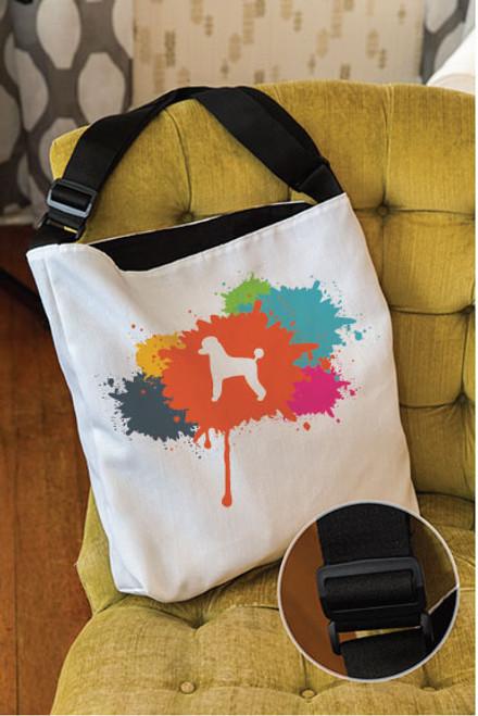 Splatter Poodle Adjustable Tote Bag