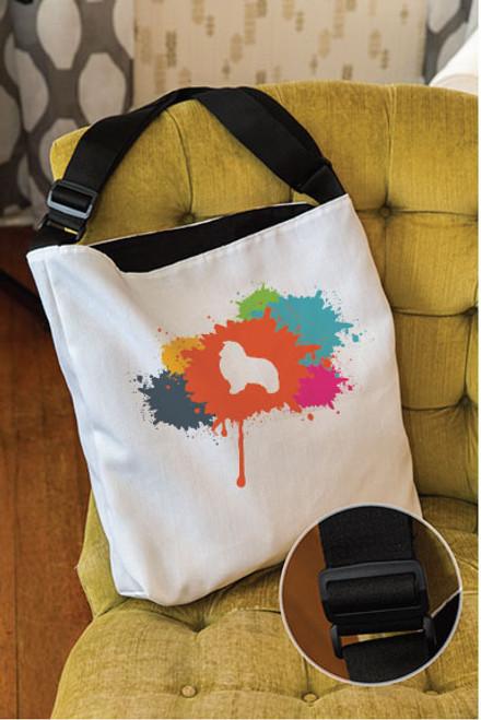 Splatter Shetland Sheepdog Adjustable Tote Bag