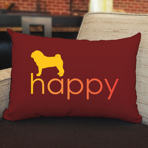 Righteous Hound - Happy Pug Pillow
