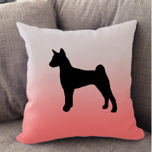 Righteous Hound - White Ombre Basenji Pillow