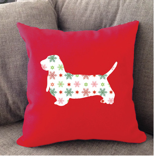 Righteous Hound - Red Holiday Basset Hound Pillow