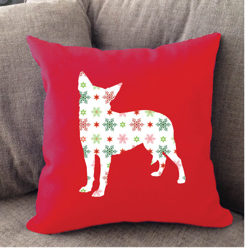 Righteous Hound - Red Holiday Chihuahua Pillow