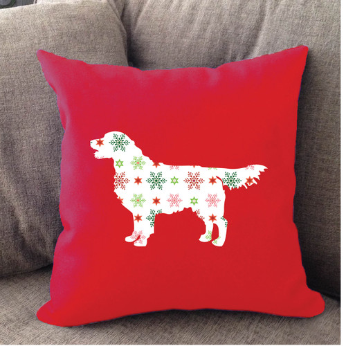 Righteous Hound - Red Holiday Golden Retriever Pillow
