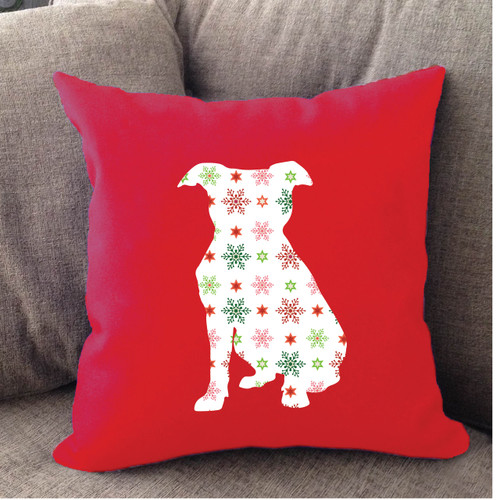 Righteous Hound - Red Holiday Pitbull Pillow