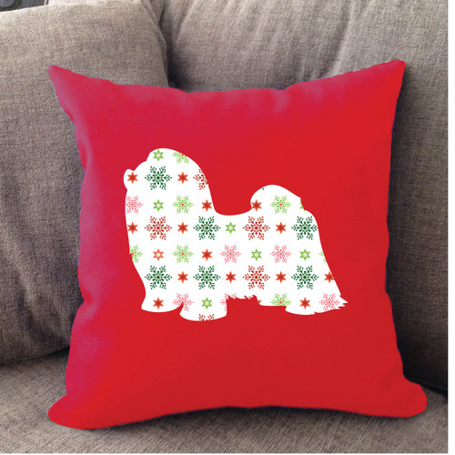 Righteous Hound - Red Holiday Shih Tzu Pillow