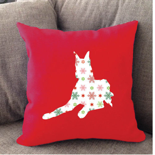 Righteous Hound - Red Holiday Great Dane Pillow