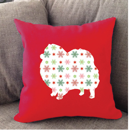 Righteous Hound - Red Holiday Pomeranian Pillow