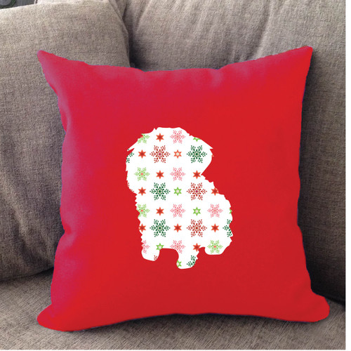 Righteous Hound - Red Holiday Maltese Pillow