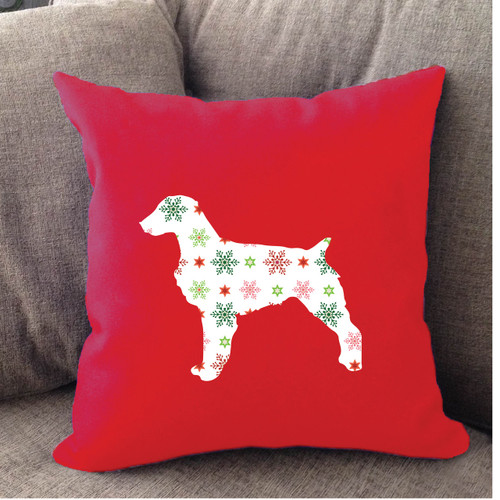 Righteous Hound - Red Holiday Brittany Pillow