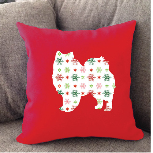 Righteous Hound - Red Holiday American Eskimo Dog Pillow