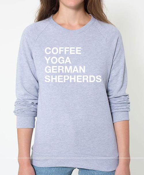 German Shepherd Coffee Yoga Sweatshirt