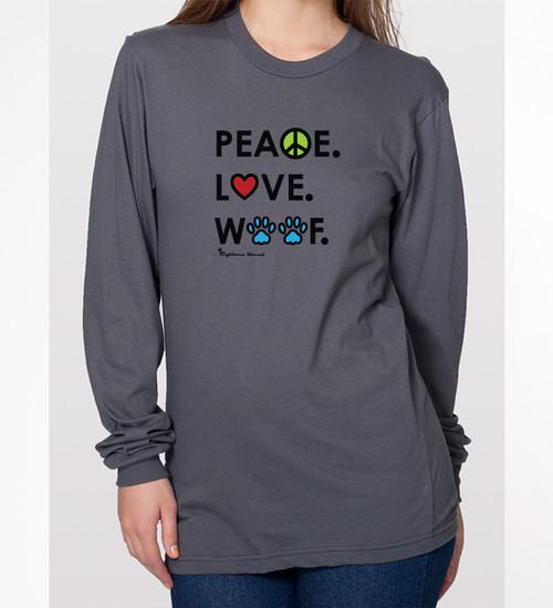 Peace. Love. Woof. Unisex Long Sleeve Tee