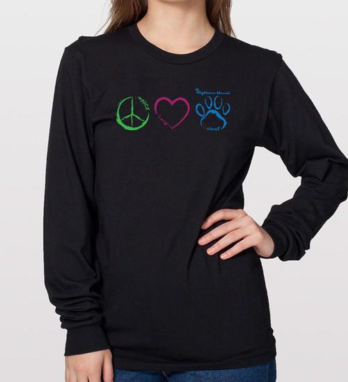 Peace, Love, Woof – Unisex Long Sleeve Tee