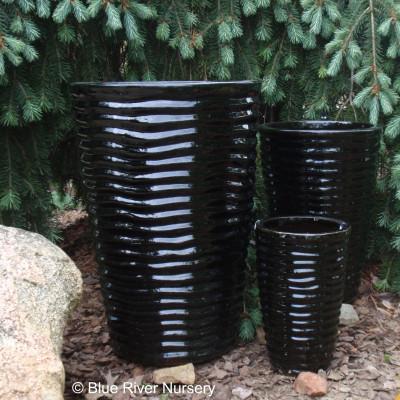 Black Tall Round Ceramic Pots