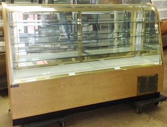 "Continental Refrigerated Candy Case, 72"" L, self-contained refrigeration, service type, fixed curved glass front, top canopy light, (3) glass shelves, lit white deck, interior with mirrored rear sliding doors & ends, laminated exterior, black base, condensate evaporator, 1/4 hp, cETLus, ETL-Sanitation, NSF"