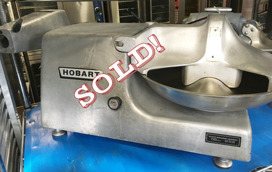"""HOBART 84145 Food Cutter with #12 attachment hub, 14"""" diameter stainless steel bowl 22 RPM, double stainless steel knives 1725 RPM, bowl cover with safety interlock, push/pull on/off switch, one-piece burnished aluminum housing, 3"""" legs, 115v/60/1-ph, 1/2 HP"""