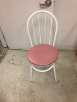 WHITE FRAME PINK SEAT STRAIGHT BACK CHAIR