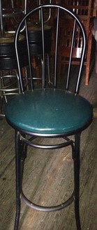 WOODEN BAR STOOL WITH BLUE VINYL SEAT