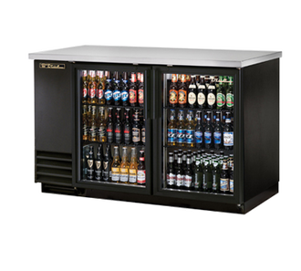 "New-Back Bar Cooler, two-section, 37"" high, (88) 6-packs or (2) keg capacity, (4) shelves, condensing unit on left, stainless steel top, galvanized interior with stainless steel floor, black vinyl exterior, (2) glass doors with locks, LED interior light, 1/3 HP, 115v/60/1, 9.1 amps, 7' cord, NEMA 5-15P, MADE IN USA, 3 year parts and labor, 5 year compressor warranty"