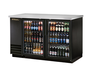 """New-Back Bar Cooler, two-section, 37"""" high, (88) 6-packs or (2) keg capacity, (4) shelves, condensing unit on left, stainless steel top, galvanized interior with stainless steel floor, black vinyl exterior, (2) glass doors with locks, LED interior light, 1/3 HP, 115v/60/1, 9.1 amps, 7' cord, NEMA 5-15P, MADE IN USA, 3 year parts and labor, 5 year compressor warranty"""