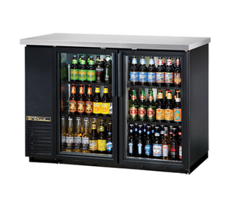 "New-Back Bar Cooler, two-section, 24"" deep, 35-7/8"" high, (48) 6-packs or (2) 1/2 keg capacity, (4) wire shelves, condensing unit on left, stainless steel top, galvanized interior with stainless steel floor, black vinyl exterior, (2) glass doors, LED interior light, 1/3 HP, 115v/60/1, 7.6 amps, 7' cord, NEMA 5-15P, MADE IN USA, 3 years parts and labor, 5 years compressor warranty"