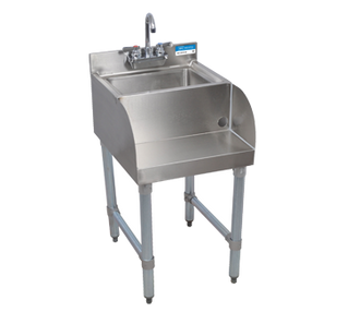 """NEW - Blender Station, with dump sink, 18""""W x 21-1/4""""D, 18 gauge stainless steel construction, 14"""" wide x 10"""" front-to-back x 6"""" deep sink bowl with 1-1/2"""" drain, 4"""" O.C. splash mount lead-free faucet (BKF-W2-3G-G), 17-3/4""""W x 5""""D blender station shelf, galvanized gussets & legs with adjustable plastic bullet feet, NSF"""