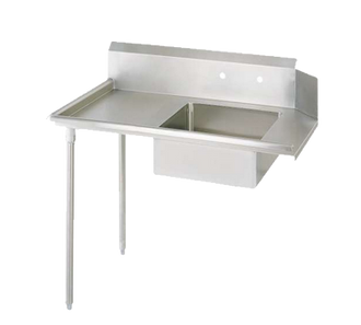 "NEW-Soiled Dishtable, straight design, 36""W x 30-7/8""D x 46-1/4""H, comes in left or right operation, 18/304 stainless steel top, 10""H backsplash, 20"" x 20"" x 8"" deep pre-rinse sink, 8"" O.C. splash mount faucet holes, raised rolled edges on front & side, 3-1/2"" basket drain included, galvanized steel legs & side bracing, adjustable plastic bullet feet, NSF"