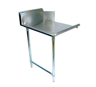 "NEW-Clean Dishtable, straight design, 48""W x 30-7/8""D x 46-1/4""H, comes in right or left operation, 18/304 stainless steel top, 10""H backsplash, raised rolled edge on front & side, galvanized steel legs & side bracing, adjustable high-impact corrosion-resistant feet, NSF"