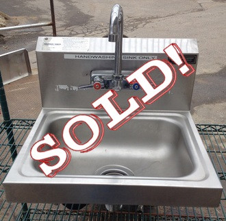 """USED-Advanced Tabco Hand Sink, wall model, 14""""W x 10"""" front-to-back x 6"""" deep bowl, overall dimensions 17""""W x 16"""" front-to-back x 8""""D, 18 gauge 304 series stainless steel, splash mounted gooseneck faucet, basket drain, wall bracket, NSF, cCSAus"""
