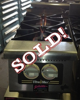"USED-Star Ultra-Max® Hotplate, gas, 12""W x 31""D x 14""H, (2) 30,000 BTU burners, manual controls, cast iron grates, stainless steel front with black trim, aluminized steel body, 4"" adjustable legs, 60,000 BTU"