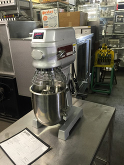 LIKE NEW, BARELY USED Skyfood B10 Planetary Mixer Gear Transmission; 2 Speed; Bowl raises and lowers for changing tools; Safety bowl cage, prevents operation when cage opened; Stainless Steel Dough Hook, Beater and Wire Whip – Standard. Table top unit. Voltage: 110 V, Frequency: 60 Hz, Power Rating: 1/2 HP, Height: 29 1/6, Width: 15, Depth: 17, Net Weight: 174.00 lb. NB