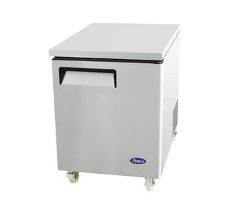 Undercounter Reach-In Refrigerator, one-section, self-contained refrigeration, 6.5 cu. ft. capacity, 33° to 45°F temperature range, (1) locking hinged self-closing door, (1) adjustable shelf, ventilated refrigeration, automatic evaporation, air defrost, stainless steel interior & exterior, galvanized steel back, casters, rear mounted refrigeration, 260 watts, 115v/60/1-ph, 3.2 amps, 1/6 HP, cETLus, ETL, CE, ENERGY STAR®