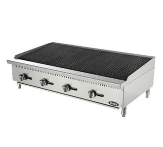 "Heavy Duty Char Rock Charbroiler, gas, countertop, 48"", (4) stainless steel burners, standby pilots, stainless steel radiant plates, cast iron grill, independent manual controls, adjustable multi-level top grates, stainless steel structure, adjustable stainless steel legs, 140,000 BTU, cETLus, ETL"