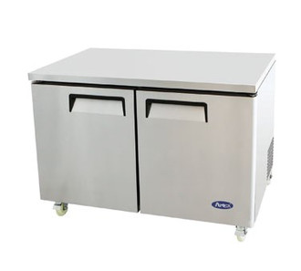 Undercounter Reach-In Refrigerator, two-section, self-contained refrigeration, 12.0 cu. ft. capacity, 33° to 45°F temperature range, (2) locking hinged self-closing doors, (2) adjustable shelves, ventilated refrigeration, automatic evaporation, air defrost, stainless steel interior & exterior, galvanized steel back, casters, rear mounted refrigeration, 390 watts, 115v/60/1-ph, 4.2 amps, 1/3 HP, cETLus, ETL, CE, ENERGY STAR®