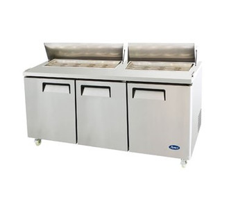 Sandwich/Salad Top Reach-In Refrigerator, three-section, self-contained refrigeration, 32.8 cu. ft. capacity, includes (18) 1/6 stainless steel pans, 33° to 45°F temperature range, (3) locking hinged self-closing doors, (3) adjustable shelves, poly cutting board, ventilated refrigeration, automatic lighting & evaporation, air defrost, stainless steel interior & exterior, galvanized steel back, casters, front breathing side mounted refrigeration, 630 watts, 115v/60/1-ph, 7.5 amps, 1/2 HP, cETLus, ETL, CE