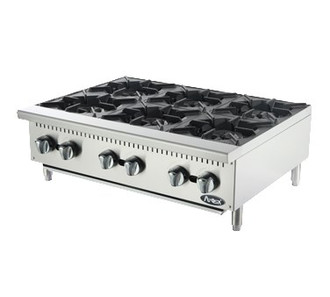 "Heavy Duty Hotplate, gas, counter model, 36"", (6) 25,000 BTU burners, standby pilots, cast iron grates, independent manual controls, stainless steel structure, adjustable stainless steel legs, 150,000 BTU, cETLus, ETL"