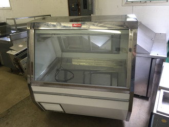 "****USED****Deli/Fish/Poultry Service Case, 50""W, double duty, self-contained refrigeration, full length gravity coil system upper level, white stainless steel ice pan with drain, stainless steel top, white interior & exterior, 1/4 HP, 115v/60/1-ph, 6.0 amps"