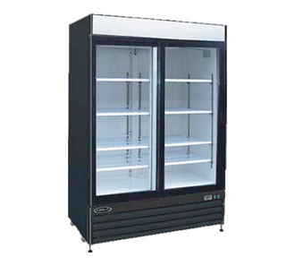 "Kool-It Refrigerated Merchandiser, 50 cu.ft., 52-1/25""W x 32-1/3""D x 79-1/2""H, (2) locking swing glass doors, 36°-43°F temperature range, digital thermostat with LED display, white aluminum interior with (8) adjustable shelves, LED lighting, top lighted signage panel, black powder coated steel exterior, bottom mount self-contained refrigeration, (4) casters (2) locking, 1 HP, 115v/60/1-ph, 6.2 amps, cord with NEMA 5-15P, cETLus, ETL-Sanitation"