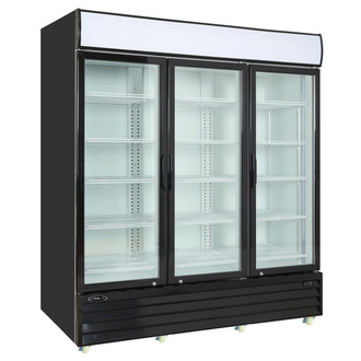 "Kool-It Refrigerated Merchandiser, 75 cu.ft., 78-1/5""W x 32-3/10""D x 81""H, (3) hinged locking glass door, hinged on right, 36° to 46°F temperature range, digital thermostat with LED display, white aluminum interior with (15) adjustable shelves, LED lighting, top lighted signage panel, black powder-coated exterior, bottom mount self-contained refrigeration, (8) casters, 1 HP, 115v/60/1-ph, 6.8 amps, cord with NEMA 5-15P, cETLus, ETL-Sanitation"