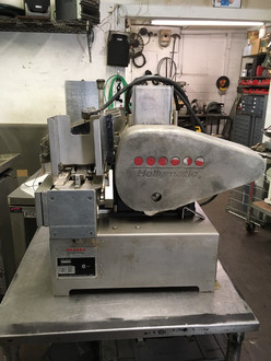 "Hollymatic automatic patty making machine 3/4 H.P 115/230 volt, 60Hz., 1 Ph. 12/6 A 115/220 volt, 50 Hz., 1 Ph. 12/6 A, Feed Tray: Removable and safety interlocked w/guard. Paper Feed: 5-1/2"" (standard) automatic side notch system. Optional 4-1/2"", and 5"" available. Speed: 2,100 or 1,800 portions per hour. Portion Size: Standard up to 8 ounces per portion. Mold Plate: Standard 3/16"" to 3/4"" thick. 5-1/8"" Maximum diameter with paper. Compressors: 5 Oz. or 8 Oz., depending on portion size."