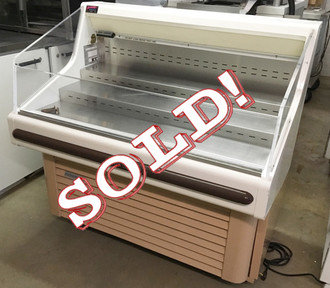 """HUSSMAN SHM-4 Specialty Horizontal Merchandiser, 48""""W, white interior & exterior, black front bumper, clear plexi end panels & front, (3) step shelves, self-contained bottom mount refrigeration with front discharge, R-134A refrigerant, 1/2 hp 115v/60/1, NEMA 5-15P, UL, cUL, temperature range 35 to 41 °F"""