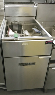 "American Range AF75 Fryer, gas, full size, 65-80 lb. fat capacity, (2) baskets, thermostat control, millivolt pilot system, stainless construction, 6"" chrome plated adjustable legs, 47.0 kW, 160,000 BTU, ETL."