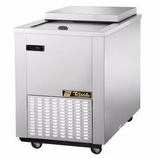 "34-1/2"" wide, stainless steel meat well flat top freezer with a self-closing sliding door lid and removable hood. R404A refrigerant, 115 Volts, 60 Hz, 1-phase and 6.8 Amps for 1/3 HP and comes with a 9 ft power cord with a NEMA 5-15P plug. 2-1/2"" diameter castors."