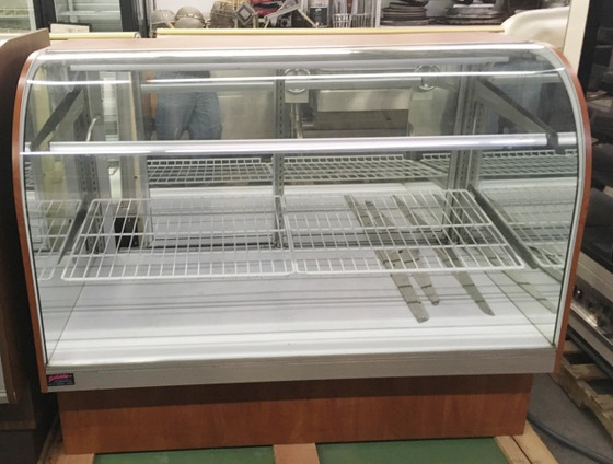 """Dry Bakery Case, 60"""" x 35"""" x 48"""" tall, non-refrigerated, extra deep service type, tilt open curved glass front, (2) glass shelves with lights, white deck, mirrored laminate interior ends with glass vision end panels, mirrored rear sliding doors, laminated exterior, black base, cETLus, ETL-Sanitation, NSF."""