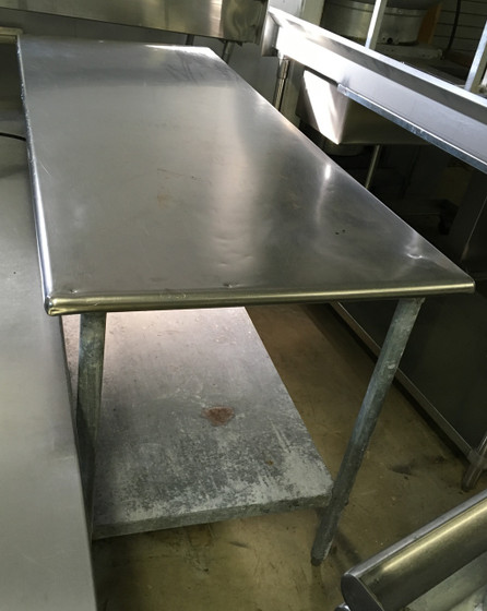 """Work Table, 72""""W x 30""""D, 18/430 stainless steel top, with turndown edges on all sides, reinforced with channels, adjustable galvanized undershelf, 1-5/8"""" dia. galvanized legs, adjustable high-impact corrosion-resistant feet, NSF"""